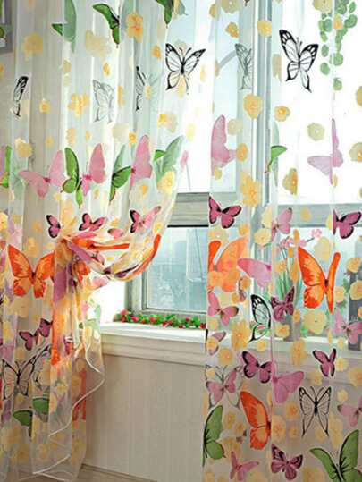 Butterfly Print Mesh Curtain 1pc