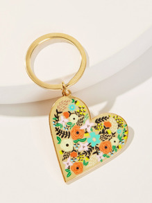 Flower Pattern Heart Shaped Keychain