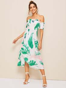 Ruffle Trim Plants Print Shirred Tube Dress