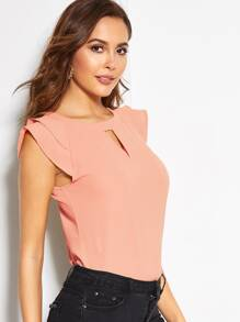 V-cut Neck Tiered Cap Sleeve Keyhole Back Blouse