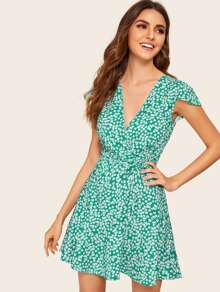 Surplice Ditsy Floral Belted Dress