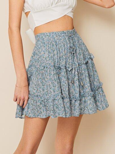 fe99c3f907 Ditsy Floral Drawstring Waist Frill Trim Skirt
