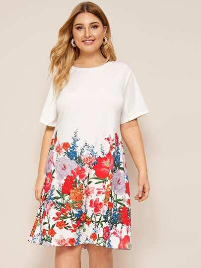 6322bc16 Vestido estilo camiseta con estampado floral-grande