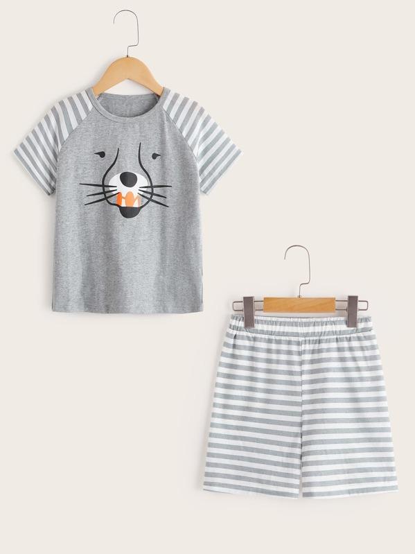 8c9ef9a7bd Conjunto de pijama para niños de rayas con estampado de animal ...