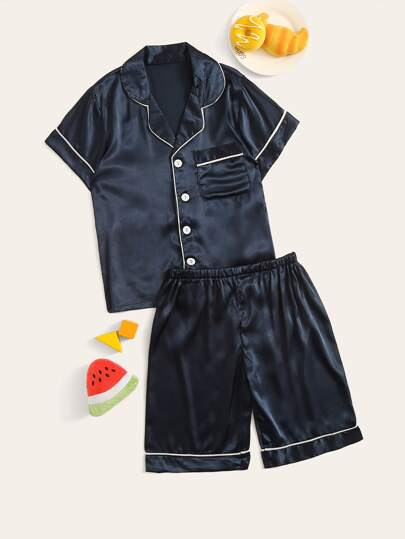 Boys Contrast Binding Satin Shirt & Shorts PJ Set