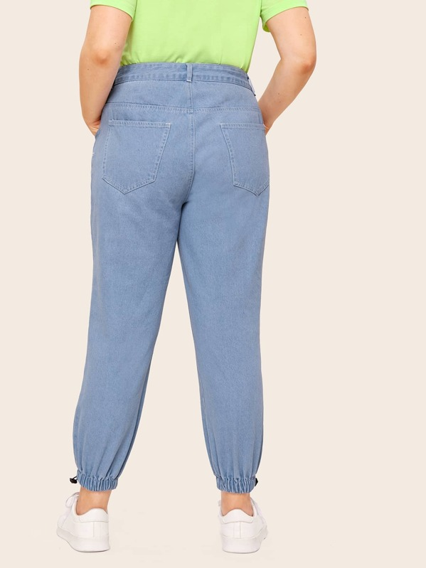 bb8e1d5bf8a4 Plus Button Front Solid Jeans | SHEIN IN
