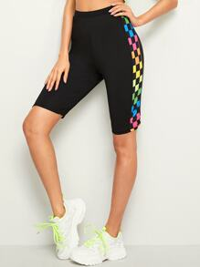 Contrast Colourful Checkerboard Cycling Shorts