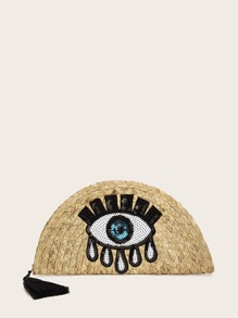 Tassel Detail Sequin Eye Decor Woven Clutch