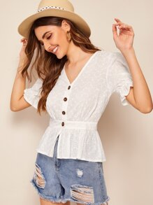 Button Front Eyelet Embroidered Blouse