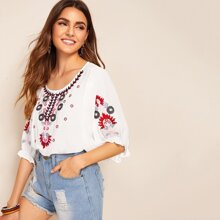Image of Floral Embroidered Blouse