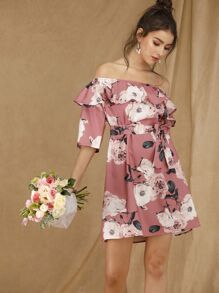 Off Shoulder Floral Print Belted Dress