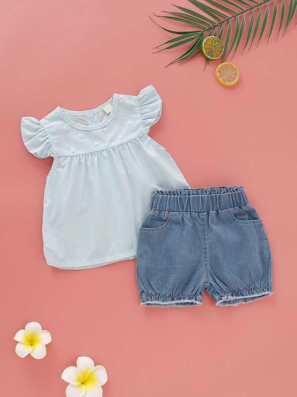 de93c9eee8 Baby Girl Babydoll Top With Denim Shorts