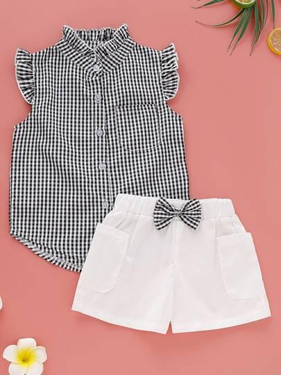 7d6d6f47a Blusa para niñitas con ribete de fruncido de guingán con Shorts