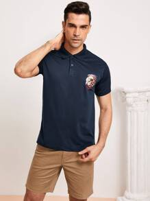Men Animal Print Polo Shirt