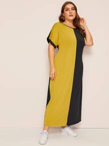Plus Two Tone Longline Dress