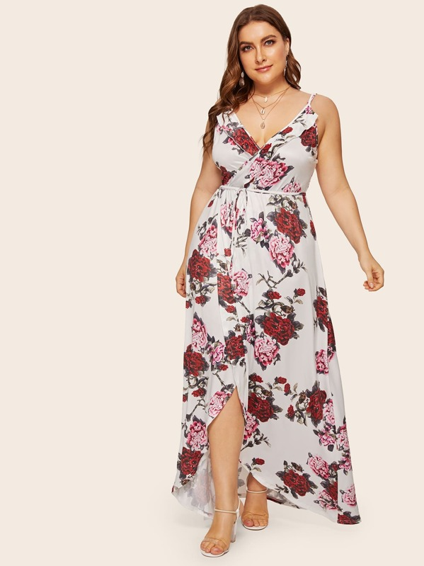 Plus Super Floral Tulip Hem Cami Dress | SHEIN