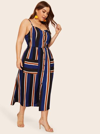5fd9d975d3dd2 Plus Striped Button Front Dual Pocket Cami Dress