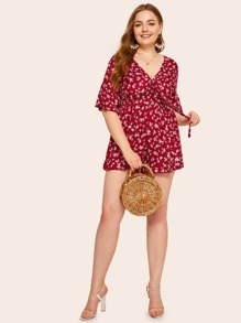 Plus Ditsy Floral Tie Front Shirred Romper