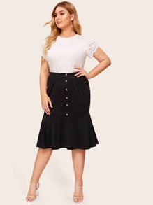 Plus Button Front Mermaid Skirt