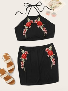 Plus Embroidery Applique Halter Top & Skirt