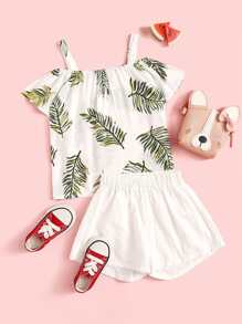 Toddler Girls Cold Shoulder Tropical Print Top & Shorts Set