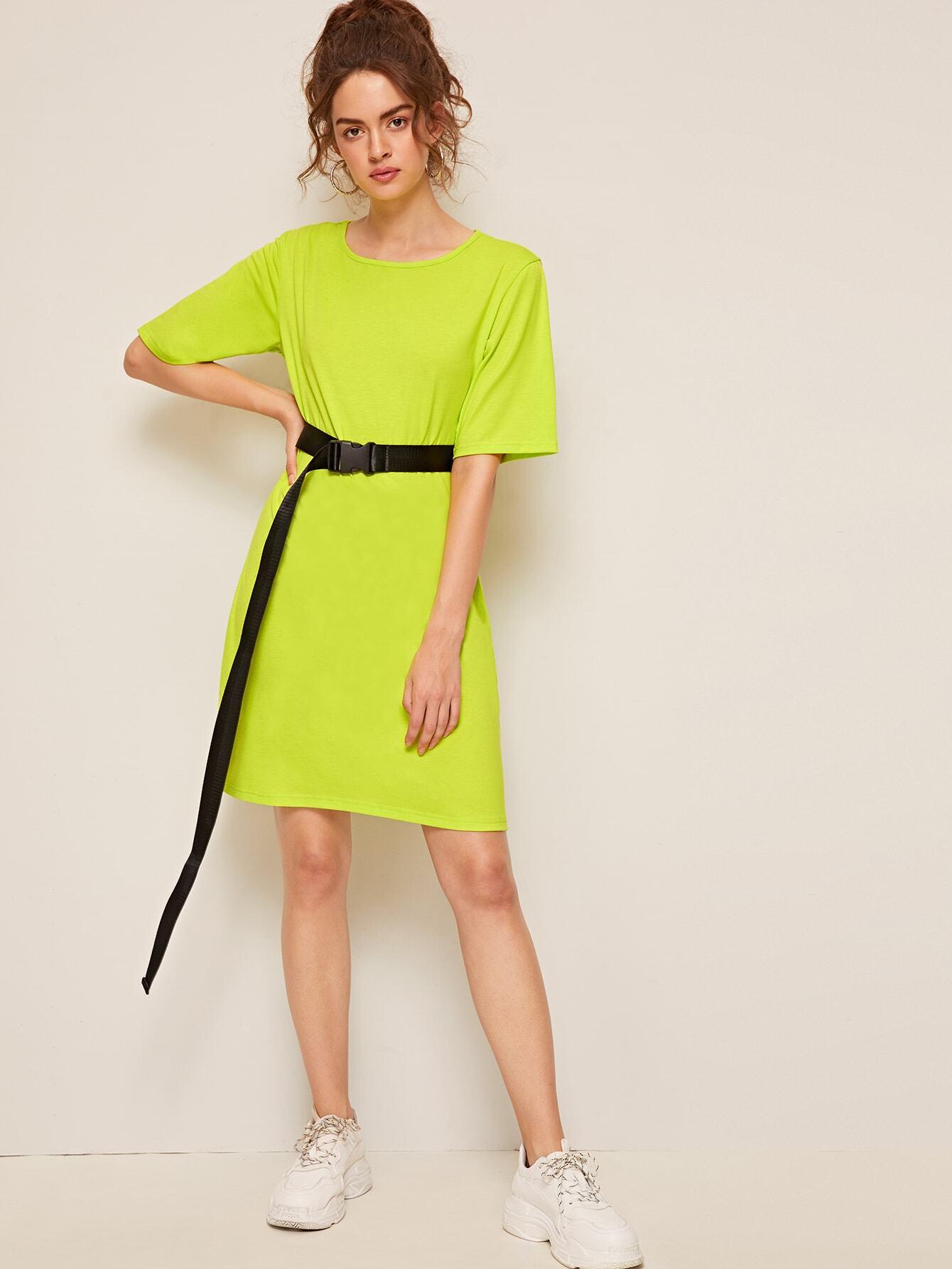 Neon Grün Kleid mit Schnalle Gürtel   SHEIN