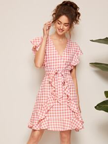 Surplice Neck Ruffle Trim Gingham Belted Dress