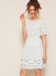 Polka-dot Print Flounce Sleeve Flippy Hem Dress