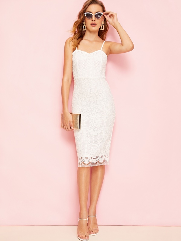 0f83b7ecb284 Slit Hem Zip Back Guipure Lace Bodycon Slip Dress | SHEIN