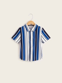 Boys Colorblock Striped Shirt