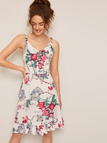 Ruffle Hem Floral Print Bow Front Dress