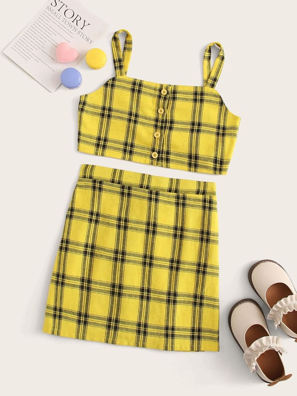 Girls Button Front Cami Top & Gingham Skirt Set