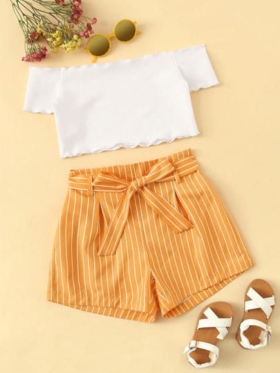 25bc6f25bd Girls Frill Trim Bardot Top & Striped Belted Shorts Set