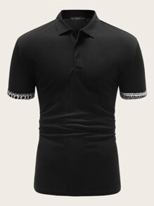 Men Geo Print Cuff Polo Shirt