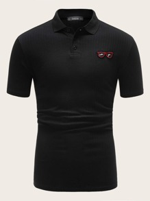 Men Glasses Embroidered Polo Shirt