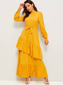 Mock-neck Self Belted Layered Ruffle Hijab Dress