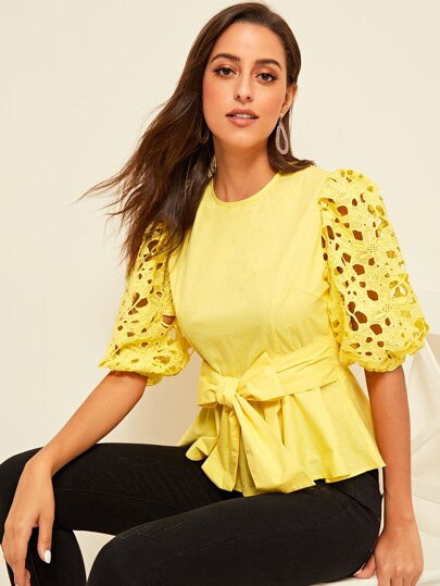 5996c10c48 Guipure Lace Lantern Sleeve Buttoned Back Top