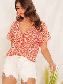 Tie Neck Floral Print Top