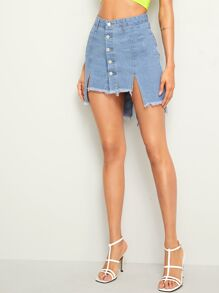 Button Front Asymmetrical Raw Hem Denim Skirt