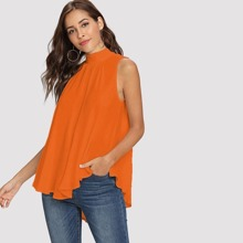 Neon Orange Tie Back Mock-neck Asymmetrical Hem Blouse
