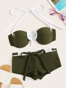 Underwire Halter Top With Drawstring  Short Bikini Set