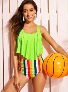 Neon Green Floaty Top With Ruched High Waist Bikini