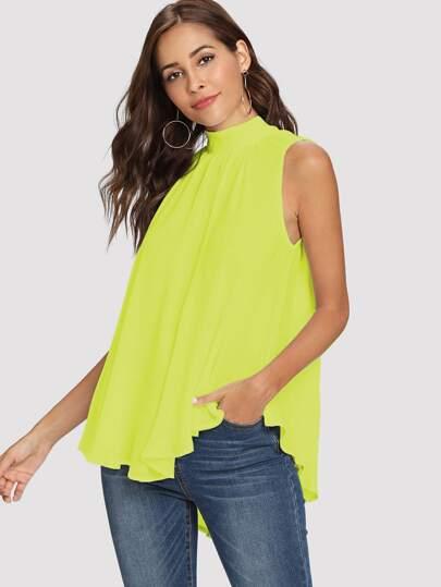 7c7f7ccafa8f36 Neon Lime Tie Back Mock-neck Asymmetrical Hem Blouse