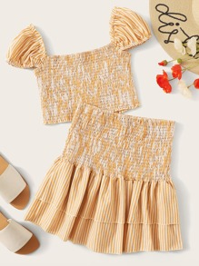 Frill Trim Shirred Top & Layered Ruffle Skirt Set