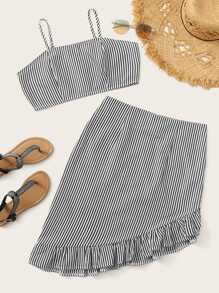 Striped Crop Cami & Asymmetrical Ruffle Hem Skirt Set