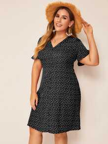 Plus Allover Heart Print Button Front Dress