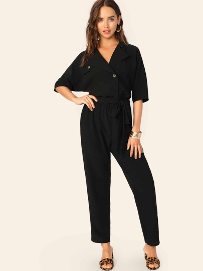 8d91220a93058 SHEIN Asymmetrical Button Front Belted Jumpsuit. Asymmetrical Button Front Belted  Jumpsuit