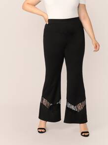Plus Lace Insert Flare Leg Pants