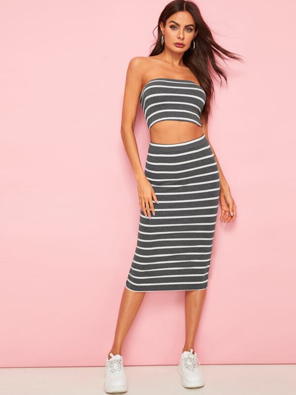 b14a099f0 Horizontal Striped Bandeau & Slit Hem Skirt Set   SHEIN