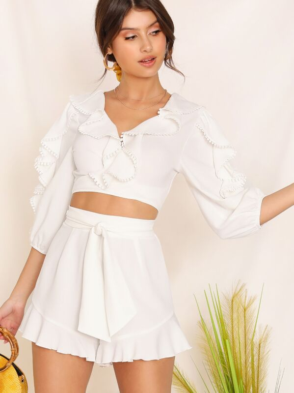 67ccc34a027528 Lace Trim Crop Top & Ruffle Trim Shorts Set | SHEIN UK